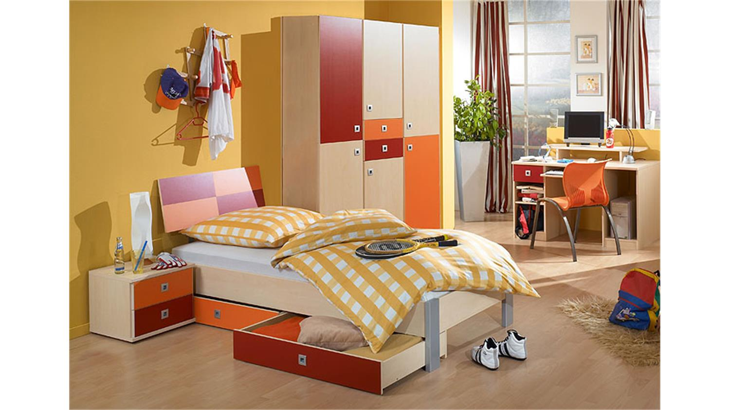 jugendzimmer sunny 3 teilig ahorn rot orange. Black Bedroom Furniture Sets. Home Design Ideas