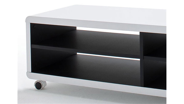 tv board jeff lowboard schrank in wei und schwarz 120 cm. Black Bedroom Furniture Sets. Home Design Ideas