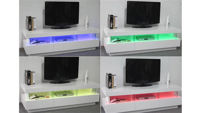 tv lowboard lora wei hochglanz mit led beleuchtung. Black Bedroom Furniture Sets. Home Design Ideas