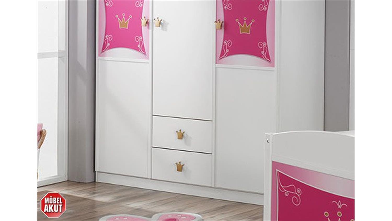 kleiderschrank kate schrank in wei und rosa dekor 3 t rig. Black Bedroom Furniture Sets. Home Design Ideas