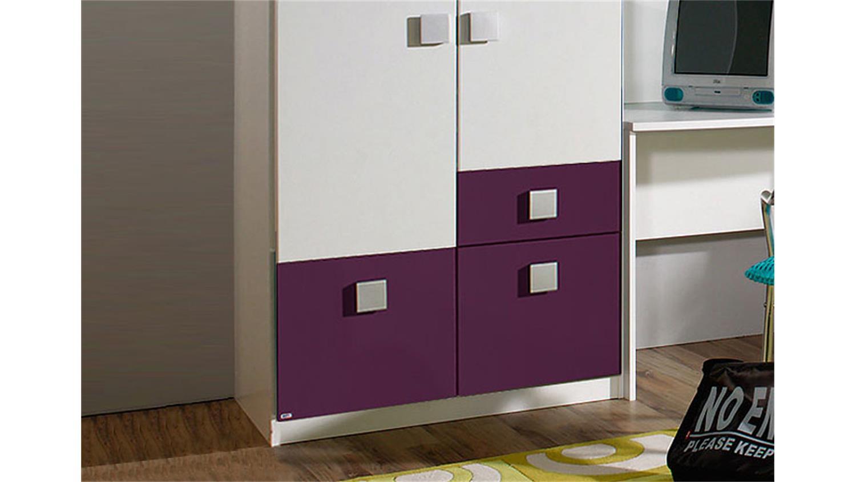 kleiderschrank skate schrank in wei und lila 90 cm 2 t rig. Black Bedroom Furniture Sets. Home Design Ideas