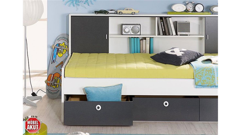 Jugendzimmermöbel set  Jugendzimmer-Set CHICA Alpinweiß und Grau Metallic 2-teilig
