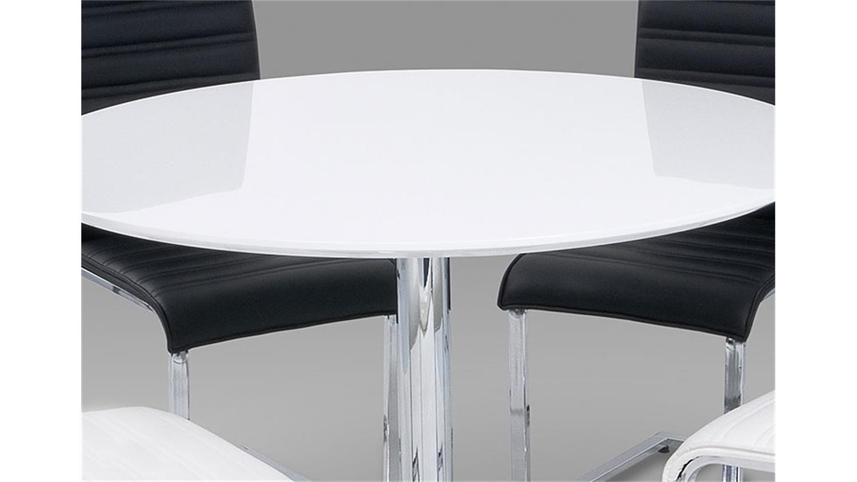 esstisch guti tisch in wei hochglanz und chrom 110 cm. Black Bedroom Furniture Sets. Home Design Ideas