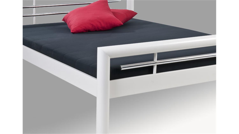 bett sami doppelbett in wei und chromdeko 180x200 cm. Black Bedroom Furniture Sets. Home Design Ideas