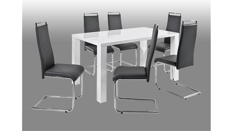 schwingstuhl valdes stuhl 4er set in schwarz und chrom. Black Bedroom Furniture Sets. Home Design Ideas