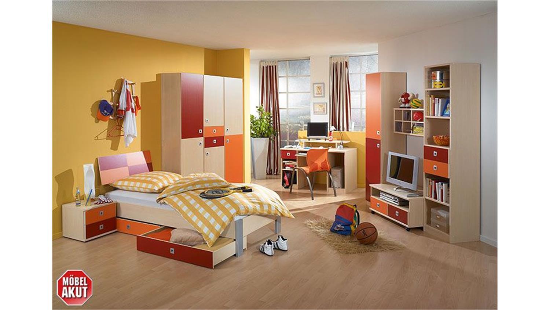 Jugendzimmer sunny 3 teilig ahorn rot orange for Jugendzimmer rot