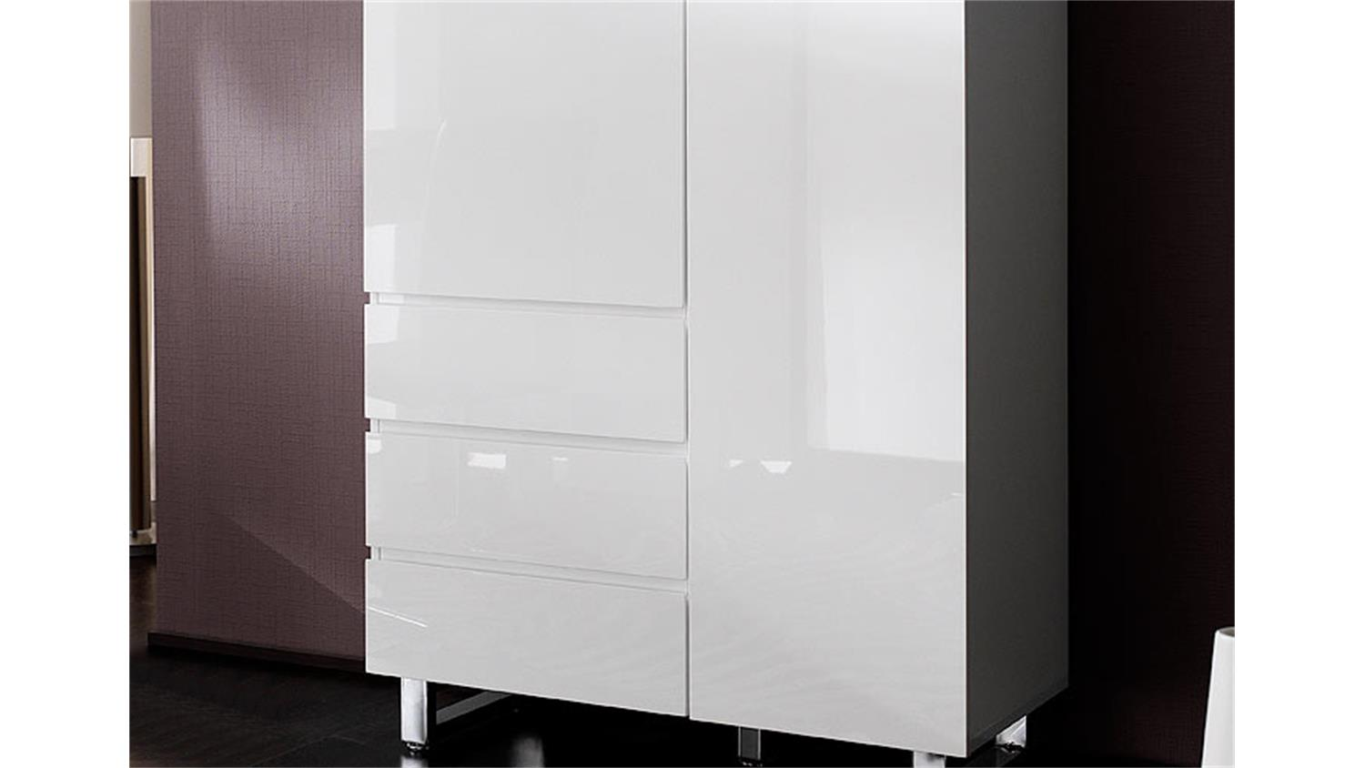 Kommode sydney i highboard schrank in wei hochglanzlack for Kommode sydney 04