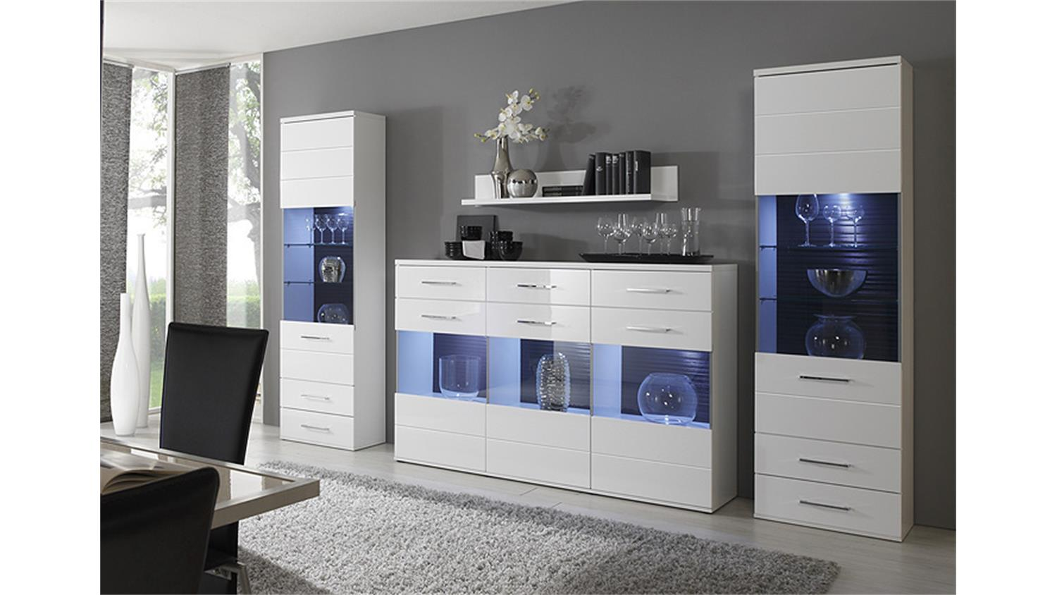 vitrine lens sideboard kommode in wei hochglanz 1 glast r. Black Bedroom Furniture Sets. Home Design Ideas