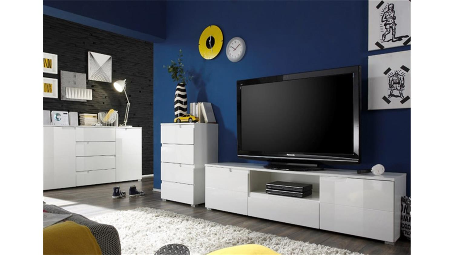 kommode spice wei es sideboard mti 2 hochglanz t ren 100 cm. Black Bedroom Furniture Sets. Home Design Ideas