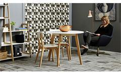 Tisch RAVEN weiß lackiert Ø 90 cm Gestell Birke teilmassiv