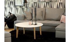Couchtisch ABIN Tischplatte weiß lackiert Gestell Eiche
