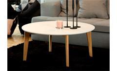 Couchtisch Abin Wohnzimmer Tisch Platte rund weiß lackiert Gestell massiv Eiche