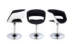 Stuhl Grace Designer Polsterstuhl in weiß und anthrazit mit Trompetenfuß chrom
