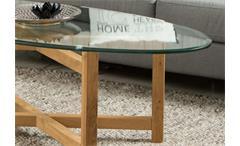 Couchtisch Melia Wohnzimmer Tisch Holzgestell Eiche massiv geölt Glasplatte oval