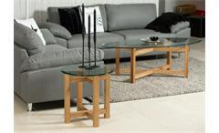 Beistelltisch Melia Wohnzimmer Tisch Holzgestell Eiche massiv geölt Glasplatte rund