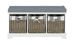 Bank CARPIO weiß mit 3 Flechtkörben in Grau und Sitzkissen