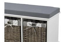 Bank Carpio weiß Garderobe Sitzbank mit Sitzkissen und 3 Flechtkörben in Grau