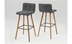 Barhocker FRIDA 2er Set Stuhl Stoff hellgrau Gestell Eiche