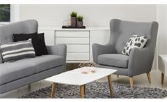 Garnitur Kamma Retro 3-Sitzer Sofa Ohrensessel Polstermöbel Stoff hellgrau