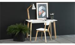 Schreibtisch Raven 117x58 cm Büro Arbeitstisch in Birke und weiß lackiert Retro