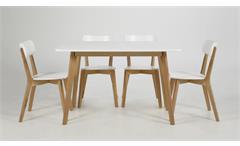 Esszimmer Set Raven Tisch 120x80 cm Küchentisch mit 4 Stühlen Birke und weiß