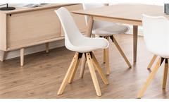 Stuhl Dima 2er-Set Esszimmerstuhl Bezug weiß Gestell Eiche massiv gebeizt geölt