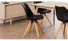 Stuhl Dima 2er-Set Esszimmerstuhl in schwarz Gestell Eiche massiv gebeizt geölt