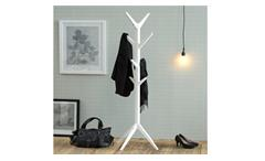 Garderobenständer Ascot Kleiderständer Holz weiß lackiert Garderobe Kleiderhaken
