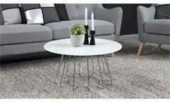 Couchtisch Casia Beistelltisch Glas weiß und Metall Chrom Wohnzimmer Tisch
