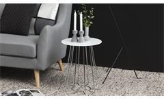 Beistelltisch Casia Glas weiß und Metall Chrom Wohnzimmer Tisch