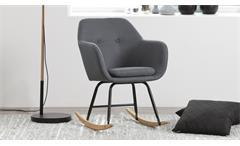 Schaukelstuhl Emilia Schwingstuhl in dunkelgrau und Metall schwarz Polsterstuhl