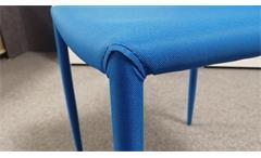 Stuhl Piana 4-er Set Esszimmerstuhl Küchenstuhl Stoff blau