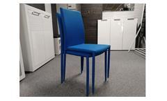 Stapelstuhl PIANA 4er Set Esszimmerstuhl Küchenstuhl Stoff blau