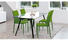 Stuhl Piana 4-er Set Esszimmerstuhl Küchenstuhl Stoff grün