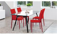 Stuhl PIANA 4er Set Esszimmerstuhl Küchenstuhl Stoff rot