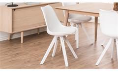 Stuhl Dima 2er-Set Esszimmerstuhl Bezug in weiß Gestell Rubberwood weiß lackiert