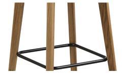 Barhocker KYRA 2er-Set dunkelgrau Eichenholz mit Fußstütze Rückenlehne Barmöbel
