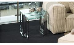Satztisch Katrine 3er Set Chrom Glas klar Beistelltisch Puristisches Design