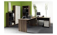 Büro OFFICE COMPACT Komplettset in Walnuss und weiß 5-teilig