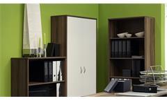 Büro Office Compact Komplettset Büroprogramm in Walnuss und weiß 5-teilig