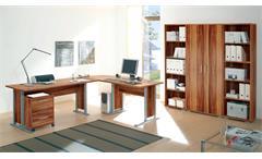 Büromöbel OFFICE LINE Arbeitszimmer Walnuss Schreibtisch Aktenregal