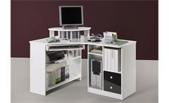 Eckschreibtisch TANGA Computer Schreibtisch in weiß