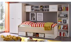 Jugendzimmer Nanu in weiß und Esche 4-teilig Bett Kleiderschrank Regale