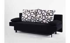 Schlafsofa JELLY Sofa in schwarz mit Betkasten und 4 Kissen