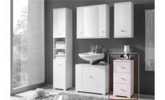Kommode Morning weißer Badezimmerschrank in Hochglanz