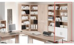 Aktenregal OFFICE LINE BIZ Büromöbel in Sonoma Eiche Dekor mit 2 Türen weiß