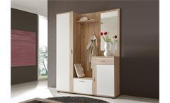 Garderobe Patent Dielenmöbel Flurmöbel Spiegel in Sonoma Eiche und weiß 3-teilig