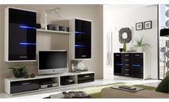 Wohnwand BLACK EAGLE schwarz und weiß inkl. LED
