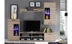 Wohnlandschaft laredo sofa wei grau mit led und soundsystem - Wohnwand mit soundsystem ...