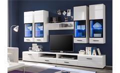 Wohnwand Attac 4 Anbauwand Wohnzimmer in weiß Hochglanz mit LED